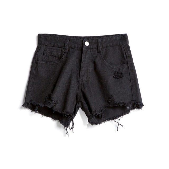 2019 Euro Style Women Denim hole Shorts Vintage mid Waist Tassel Jeans tassel Shorts Street Wear Sexy Wide Leg Shorts For Summer