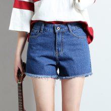 2019 Euro Style Women solid Denim Shorts Vintage mid Waist Tassel Jeans Shorts Street Wear Sexy Wide Leg Shorts For Summer