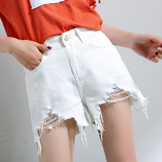 2019 Euro Style Women Denim Shorts Vintage hole mid Waist Tassel Jeans Shorts Street Wear Sexy Wide Leg Shorts For Summer