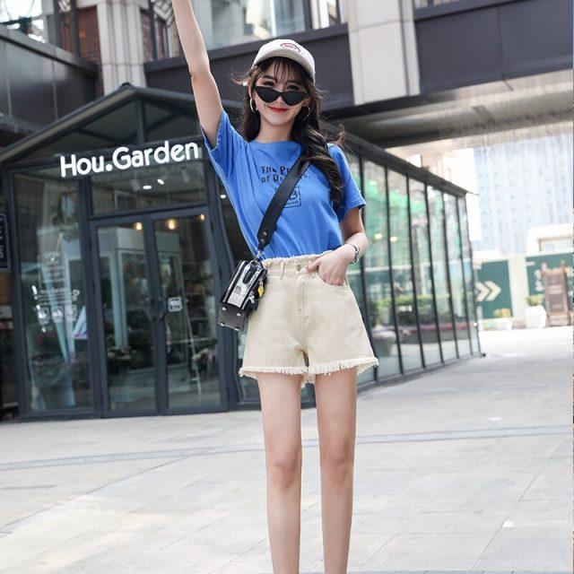 2019 Euro Style Women blue Denim Shorts Vintage mid Waist Tassel Jeans Shorts Street Wear Sexy Wide Leg Shorts For Summer