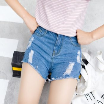 2019 Euro Style Women hole Denim Shorts Vintage mid Waist Tassel Jeans Shorts Street Wear Sexy Wide Leg Shorts For Summer
