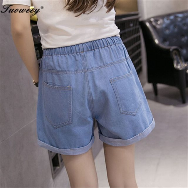 2018 New Women Shorts streetwear Summer sexy Denim Shorts mid Waist Jeans Short Plus Size Hole Cowboy Straight Jeans Shorts