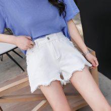 2019 Euro Style white Women Denim Shorts Vintage mid Waist Tassel Jeans Shorts Street Wear Sexy Wide Leg Shorts For Summer