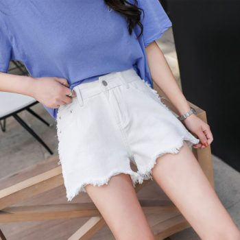 2019 Euro Style white Women Denim Shorts Vintage mid Waist Tassel Jeans Shorts Street Wear Sexy Wide Leg Shorts For Summer