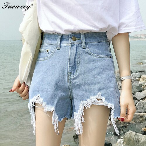 2017 new arrival casual summer hot sale denim women shorts high waists fur-lined leg-openings Plus size sexy short Jeans
