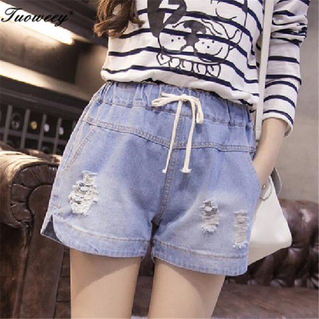 7XL 2018 Summer Casual mid Waist sexy hole Shorts Women Streetwear Denim Shorts Plus Size Elastic Waist Jeans Shorts For Women