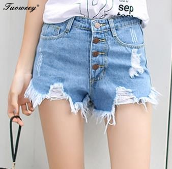 Ladies Women Plus Size Vintage Ripped Summer High Waisted Stonewash Denim Shorts Jeans Button Pocket Hole Light Blue Shorts Hot