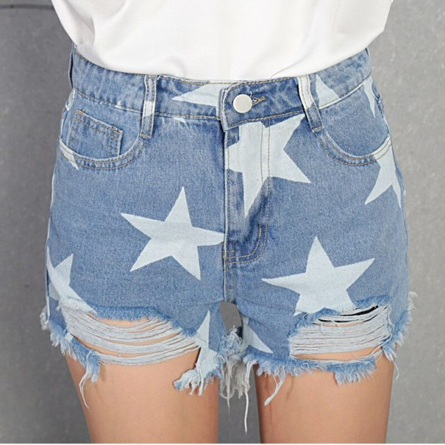 2019 Euro Style printed Women Denim Shorts Vintage mid Waist Tassel Jeans Shorts Street Wear Sexy Wide Leg Shorts For Summer