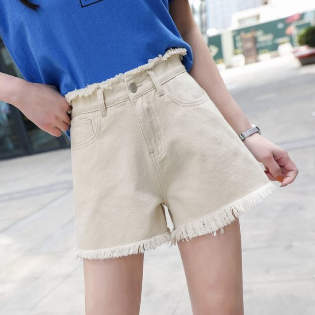 2019 Euro Style Women loose Denim Shorts Vintage mid Waist Tassel Jeans Shorts Street Wear Sexy Wide Leg Shorts For Summer
