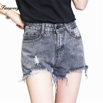 2018 Plus Size Casual Wide Leg Short Pants New Hole Shorts Tassels sexy Female Denim Shorts Summer High Waist Short Mujer