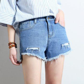2019 Euro Style Women Denim Shorts Vintage mid Waist Tassel Jeans Shorts Street Wear Sexy Wide Leg hole Shorts For Summer