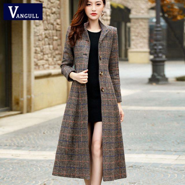 Vangull Woolen coat women high quality Classic Long wool coats 2019 New Wool Jackets Trench winter outerwear plaid woman coats