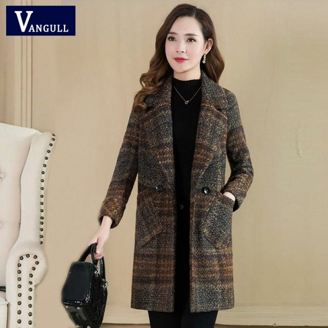Vangull Plaid Woolen Coats Suit Collar Double Breasted Slim Fashion Thick Warm Coats Autumn Winter Elegant Pockets Long Outwears