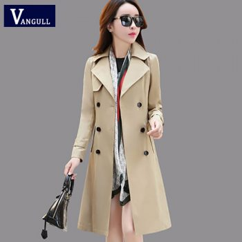 Vangull Women Trench Coat Spring Fall Fashion Trench Turn-down Collar Double Breasted Patchwork Long Trench Coat Slim Wind Coat