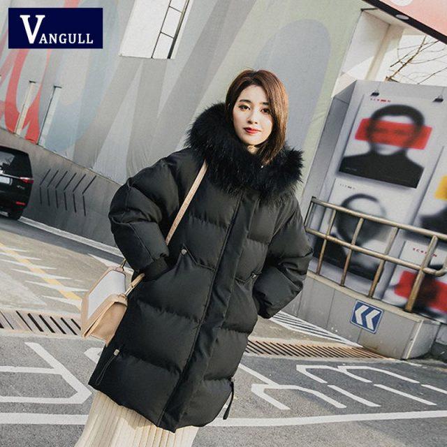 VANGULL Elegant Fur Collar Coat 2019 New Winter Thick Jacket Women Long Down cotton Parkas Female Warm Hooded Jacket Coat