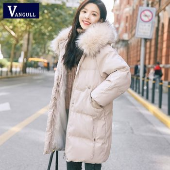 VANGULL Elegant Fur Collar Coat 2019 New Winter Thick Jacket Women Long Down cotton Parkas Female Warm Hooded Jacket Coat
