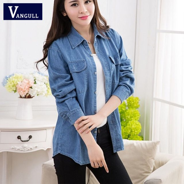 VANGULL Women Denim Jackets 2019 New Spring Summer Solid BF Style Shirts With Pockets Autumn Female Plus Size Loose Thin Coats