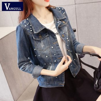Vangull Big Size 4XL 5XL Women Denim Jacket Pearl Beading Jeans Bomber Jacket Coat Casual Female Basic Outwear 2019 Plus Size