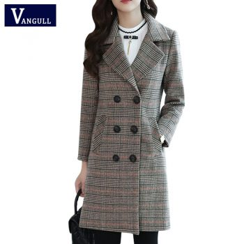 Vangull Autumn Winter Wool Coat Women Plaid Blends Office Work double breasted Long Coats Casual Lady Slim Jacket Plus size 5XL