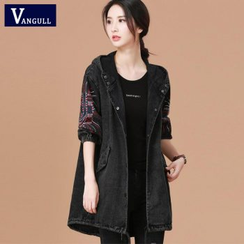 Vangull Ladies Denim Jacket With Embroidery Women Bf Style Long Sleeve Loose Streetwear Jeans Jackets hooded Coat Plus Size