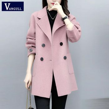 Vangull Women Wool Coat Winter Fall Single Breasted Long Wool Coats Solid Turn-down Collar Loose Korean Female Jackets Outerewar