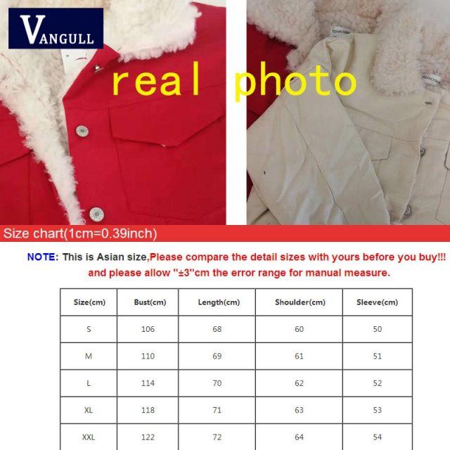 Vangull Women Denim Jacket Fur Lining Autumn Winter Red Denim Jacket Warm Jacket Vintage Long Sleeve Loose Jeans Coat Outwear