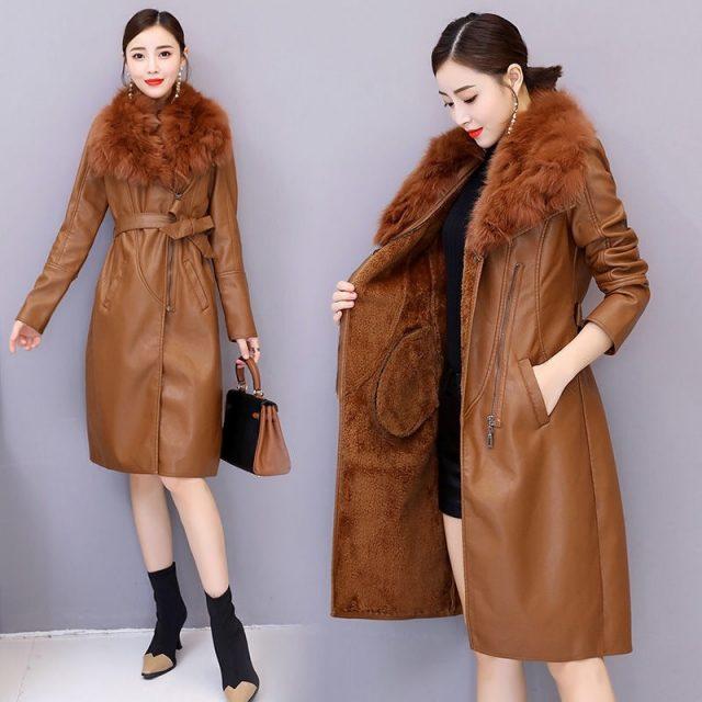 Vangull Women's Leather Jacket for Winter 2019 New Plus Velvet Warm Slim Big Fur Collar Long Leather Coat Female Outerwear M-4XL