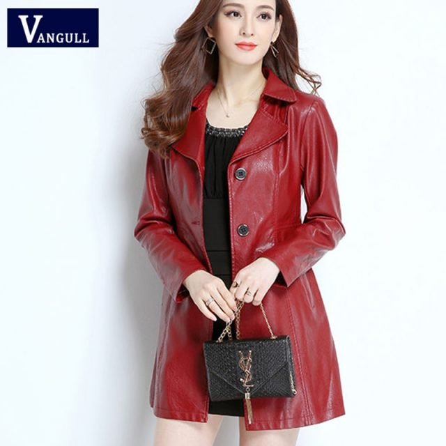 Vangull Women Faux Leather Jackets Fashion Long Sleeve Loose Plus Size PU Leather Coat 2019 Winter New Women Leather Outerwear