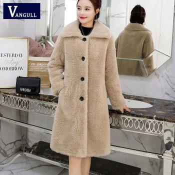 Vangull Winter Women Faux Fur Coat  High Quality Luxury Long Fur Coat Loose Lapel OverCoat Thick Warm Plus Size Female Coats