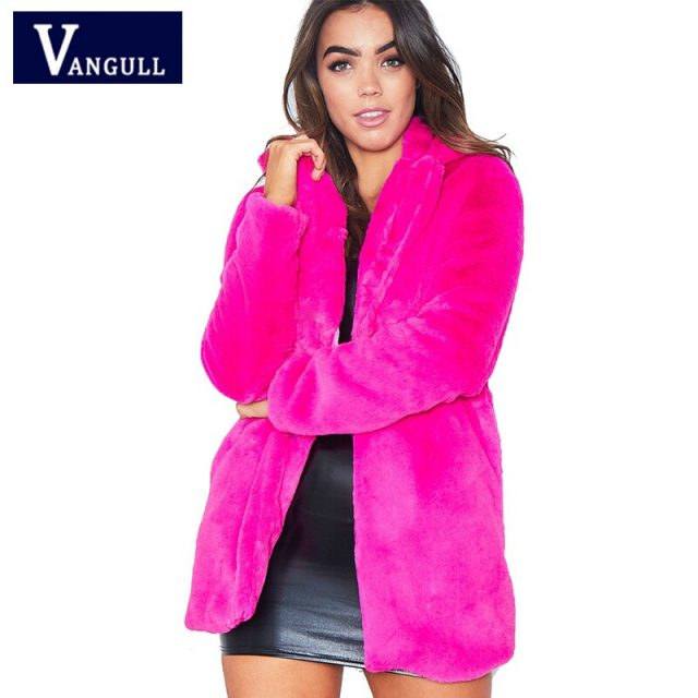 Women Winter Fur Coat Jacket Thick Warm Plush Long Coats Female Elegant Rabbit Fur Pocket Fashion Autumn Outwear VANGULL 2018