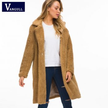 Vangull Women Fur Coat 2018 New Winter Fluffy Shaggy Faux Long Fur Coat Fashion Thick Warm Jacket Beige Plus Size Outwear