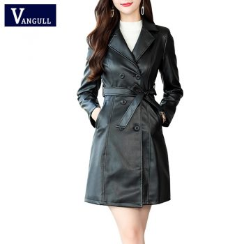 VANGULL Women Sheepskin PU Leather Jacket Belt Gothic Black Trench Free Wash Autumn Winter Double-breasted Plus Size Cotton Coat