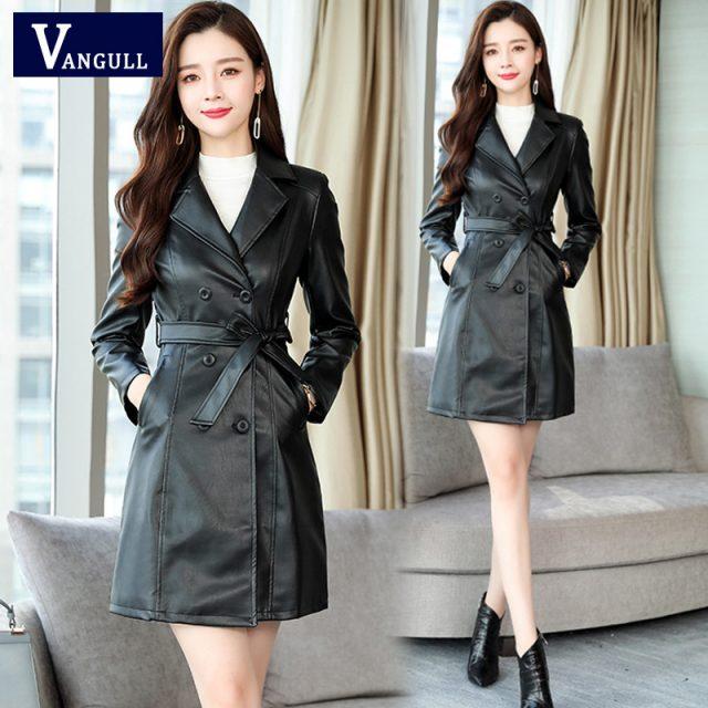 VANGULL Women Sheepskin PU Leather Jacket Belt Gothic Black Trench Free Wash Autumn Winter Double-breasted Plus Size Cotton Coat