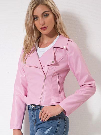 Vangull Brand Motorcycle PU Leather Jacket Women Winter Autumn New Fashion Coat Pink Zipper Outerwear jacket New 2018 Coat