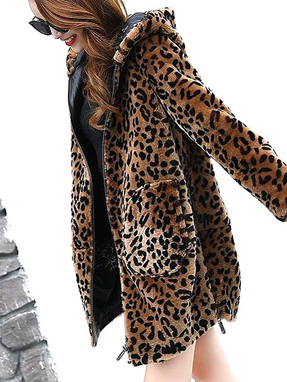 Vangull Women Leopard Faux Fur Coats Winter Warm Thick Hooded Jacket 2019 New Fashion Long Sleeve Zipper Loose Plus Size Jacket