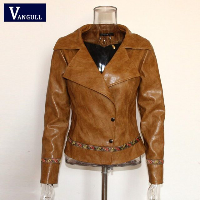 Vangull Casual Embroidery faux leather coat 2019 New Girl Motorcycle leather jacket women Fashion cool outerwear Street jackets