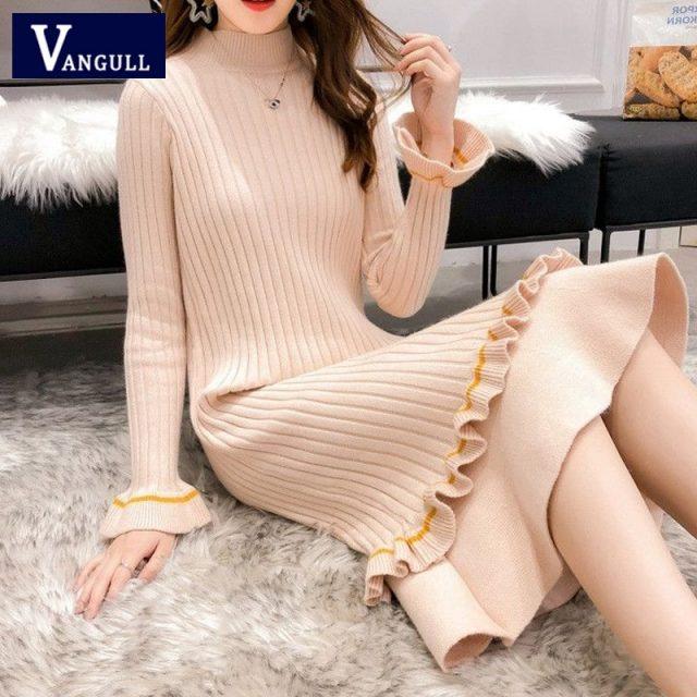 Vangull Knitted Sweater Dress Women Flare Sleeve Turtleneck Winter Dress 2019 New Autumn Solid Sweet Ruffle Elegant Long Dress