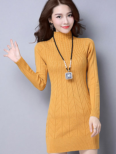 Vangull Autumn Winter Solid Knitted Cotton Sweater Dresses New Women Fashion Turtleneck Pullover Female Knitted Dress Vestidos