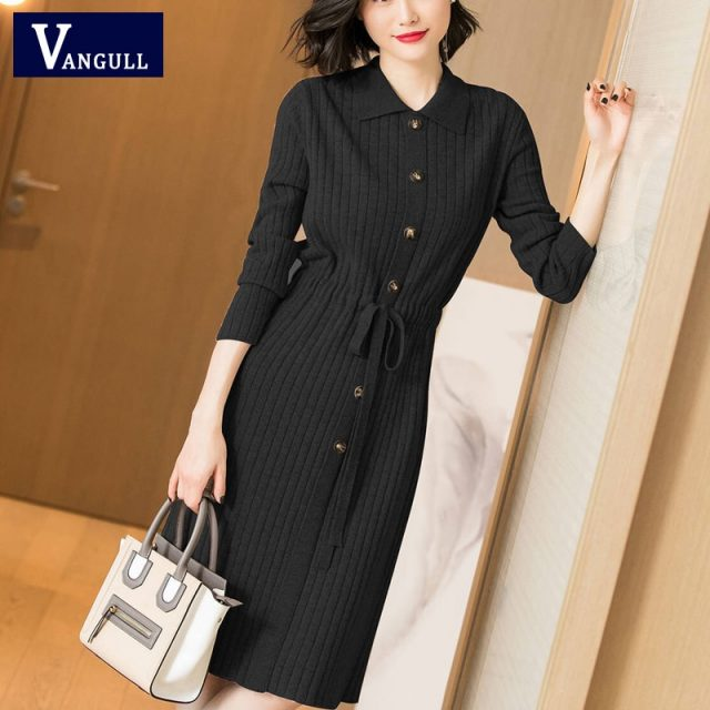 Vangull Women Knitted Dresses Solid Female Long Sleeve Dress 2019 New Autumn Winter Turn-down Collar Button Solid Slim Dresses