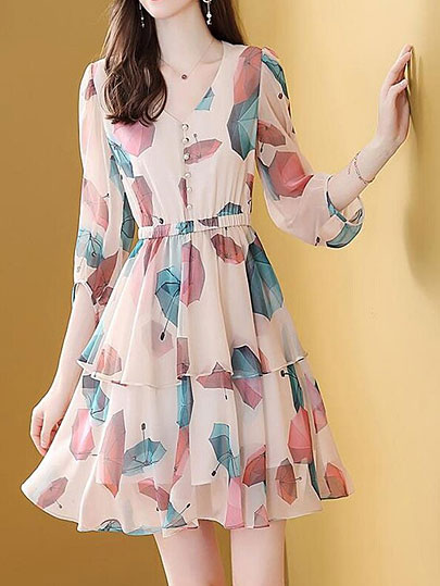 Vangull Summer New Print Elastic waist cake skirt mid-length sleeve V-neck A-line Short dress Feminine Chic Office lady dress