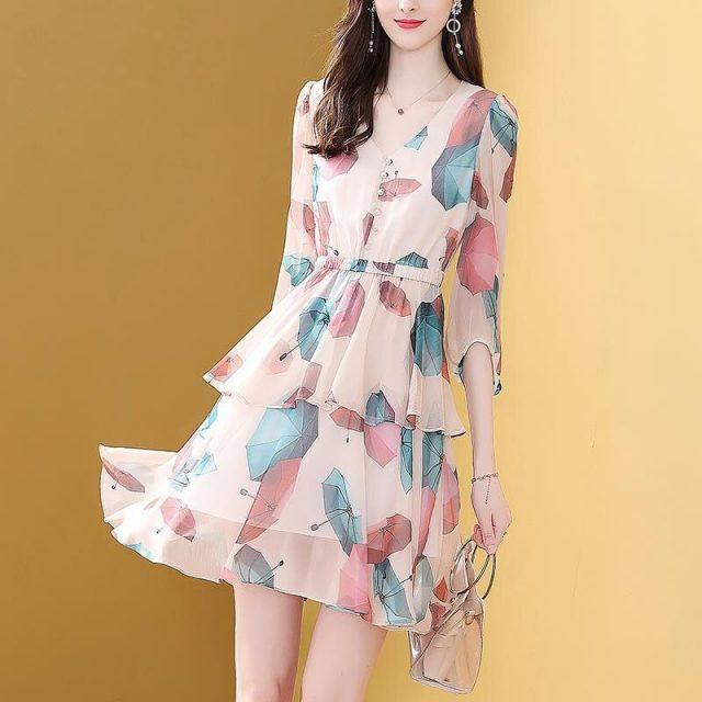 Vangull Summer New Print Elastic waist cake skirt mid-length sleeve V-neck A-line Short dress Feminine Chic Office lady dress