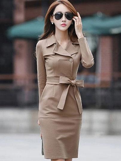 Vangull  Women Elegant Dress Solid High Waist Sashes Dress 2019 Autumn New Office Lady Female Turn-down Collar Slim Dresses
