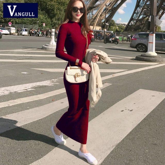 Vangull Autumn Knitting Cotton Dress Women Long Sleeve O-neck Sheath Ankle-Length Dress Winter Warm Slim Pullovers Sweater Dress