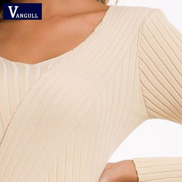 Vangull Autumn Knitting Cotton Dress Women Long Sleeve v-neck Sheath Mid-Calf Dress Winter Warm Slim Pullovers Sweater Dress