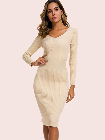 Vangull Autumn Knitting Cotton Dress Women Long Sleeve v-neck Sheath Mid-Calf Dress Winter Warm Slim Pullovers Sweater Dress