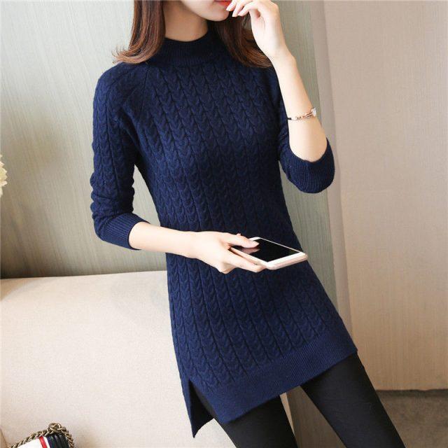 Vangull Elegant Women Sweater Dress 2019 New O-neck Full Sleeve Sashes Stretch Vestidos Female Casual Slim Warm Knitted Dress