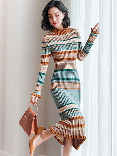 Vangull Women Sweater Dress Long Sleeve Turtleneck Elegant Knitted Dress 2019 Autumn Winter Casual Lady Bodycon Cotton Dress