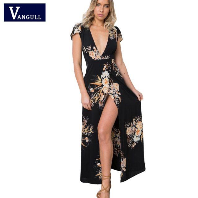 Boho deep v neck long women dress 2018 New Brand split cross lace up summer dress Short Sleeve beach maxi dress vestidos