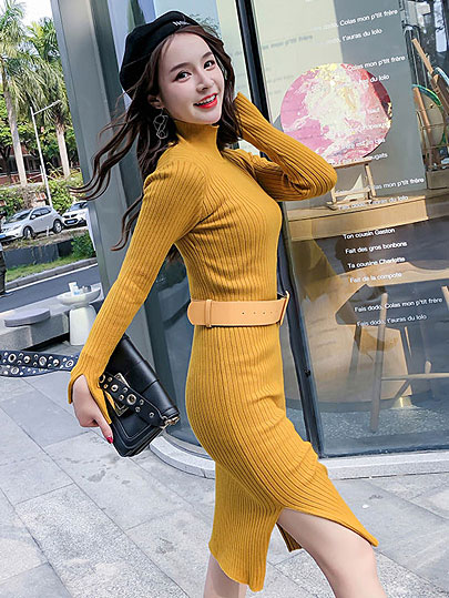 Vangull Sweater Dress 2019 New Fall Winter Warm Charm Women split side Long Sexy Bodycon Dresses with belt Skinny Knitted Dress