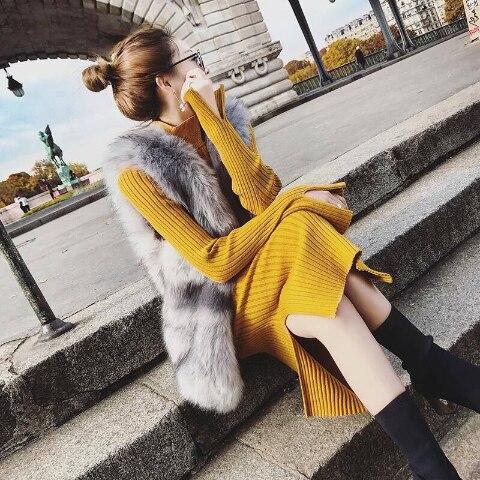 Vangull Sweater Dress 2019 New Fall Winter Warm Charm Women split side Long Sexy Bodycon Dresses with belt Skinny Knitted Dress